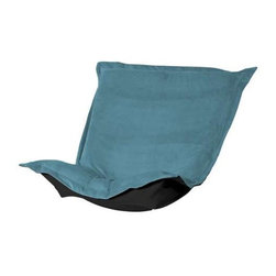 Howard Elliott Mojo Turquoise Puff Chair Cushion - Extra Puff Cushions in Mojo are a great way to get a fresh new look without the expense of buying a whole new chair! Puff Cushions fit Scroll and Rocker frames. This Mojo cushion features a suede-like texture in a vibrant blue color.
