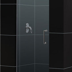 DreamLine - DreamLine SHDR-20257210F-01 Unidoor 25in Frameless Hinged Shower Door, Clear 3/8 - The Unidoor single swing door combines premium 3/8 in. thick tempered glass with a sleek frameless design for the look of a custom glass door at an amazing value. Top quality solid brass self-closing hinges install glass-to-wall to create the completely frameless design. Choose the clean lines of the Unidoor to give your bathroom renovation a polished upscale appeal. 25 in. W x 72 in. H ,  3/8 (10 mm) thick clear tempered glass,  Chrome, Brushed Nickel or Oil Rubbed Bronze hardware finish,  Frameless glass design,  Out-of-plumb installation adjustability: No,  Fully frameless glass hinged shower door design,  Self-closing solid brass wall mount hinges,  Precise width measurement of finished opening required,  Door opening: 24 in.,  Reversible for right or left door opening installation,  Material: Tempered Glass, Brass