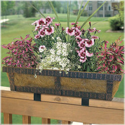 Embossed Adjustable Deck Railing Planter - If you have a large deck that needs embellishing, this is perfect. This planter sits on top of the rail so won't droop over the sides. You can enjoy the plants from the deck as well as the yard. The metal finishing makes it look substantial and gives you some confidence that it won't topple off when the dogs and kids start playing.