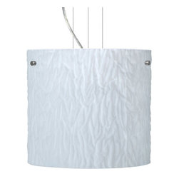 Besa Lighting - Besa Lighting 1KG-4184OS Tamburo 1 Light Cable-Hung Pendant - Tamburo is a classic open-ended cylinder of handcrafted glass, a shape that will stand the test of time. Our Opal Stone glass is a white blown glass with an outer texture of coarse sandstone. Inspired by the elements of nature, the appearance of the surface resembles the beautiful cut patterning of a rock formation. The soft white color can suit any modern or classic decor. The smooth satin finish on the clear outer layer is a result of an extensive etching process. This blown glass is handcrafted by a skilled artisan, utilizing century-old techniques passed down from generation to generation. Each piece of this decor has its own artistic nature that can be individually appreciated. The cable pendant fixture is equipped with three (3) 10' silver aircraft cables and 10' AWM cordset, and a low profile flat monopoint canopy.Features: