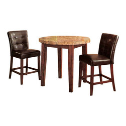 "Acme - 3-Piece Wood Counter Height Table Set with Marble Top and Button Parson Stool - 3-Piece wood counter height table set with marble top and button tufted parson stools. This set features a marble top with walnut finish wood leg and chair frames. Seats are upholstered in a black vinyl with a tufted back. Table measures 40"" Dia. x 36"" H, Chairs measure 24"" H at the seat. Additional stools also available. Some assembly required."