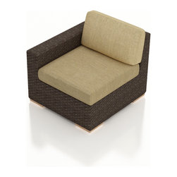 Harmonia Living - Arden Outdoor Rattan Left Arm Chair, Heather Beige Cushions - Add a beautiful corner to your new patio set with the Arden Left Arm Section with Tan Sunbrella® Cushions (SKU HL-ARD-LAS-CH-HB). Its beautiful wicker is finished with a weathered Chestnut finish and is made from High-Density Polyethylene (HDPE), which ensures that the wicker will neither fade nor peel in regular sun exposure. What makes the Arden Collection unique is its high arms, modern style, and extra-plush cushions, all with a hint of classic traditional looks. Its teak feet elevate the seats in an attractive fashion that accent the wicker. The cushions are made from Sunbrella fabric, which is available in a large assortment of shades to give your Arden set the look that fits right into your outdoor space.