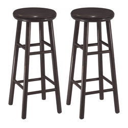 """Winsomewood - Set of 2, 30"""" Swivel Bar Stool, Assembled - Set of 2 solid wood swivel 29"""" bar stools with beveled seat in espresso finish. Rounded legs are sturdy; able to hold up to 200lbs. The beveled seat is contoured for comfort. The stools ship fully assembled."""