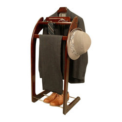 Proman Products - Proman Products Windsor Brass Valet in Mahogany - Proman Products - Valet Stands - VL16140 - The Windsor Wardrobe Valet in Mahogany is the ultimate in wardrobe care. It accommodates a jacket a pair of trousers and a tie bar that holds two ties and a belt. It also features a tray to hold your wallet spare change and jewelry. The base holds one or two pairs of shoes. Our solid wood construction ensures years of enjoyment from this piece. This valet is also available in dark walnut and cherry finishes.