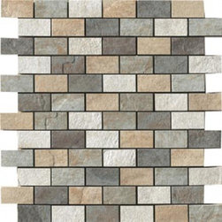 Saime - Eternity Mosaic Mix Muretto 1 x 2 - This beautiful slate stone looking porcelain tile collection makes a great floor both indoors and outside in non-freezing climates.