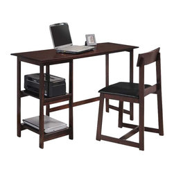 Adarn Inc - 2 PC Simple Design Espresso Home Office Computer Writing Desk Chair Set Shelves - Bring this simple design writing desk and chair set into your home to add work space to any area, the desk features generous smooth top and 2 open side shelves. The matching chair features black PU cushioned seat to keep you comfortable as you sit down and tackle your daily tasks. Complete your home with the function and convenience this table desk and chair set has to offer.
