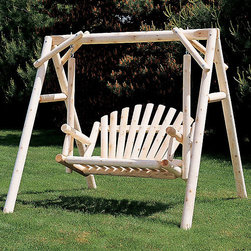 "American Garden Cedar Swing Set - Resilient, attractiveness, and low upkeep are just a few features of the Cedar Garden Swing Set that makes it an ideal choice for outdoor furniture.  The ""Cedar Looks"" brand guarantees you that the natural cedar log furniture you purchase is of the very best quality on earth. Every piece of the cedar swing set is brilliantly sanded to a smooth finish to provide you a lasting elegance and high quality construction, which will continue for decades. This swing set is also the perfect type of furniture to pass down from generation to generation making it a true family heirloom. So order today and add this beautiful swing set to your home."