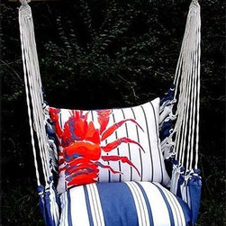 Magnolia Casual Marina Stripe Lobster Swing Set - Nothing says summer like a porch swing, and this four-piece set includes the swing, a striped seat cushion, a lobster back pillow and a tote.