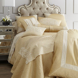 """Natori - Natori King Duvet Cover, 110"""" x 96"""" - The """"Gobi Palace"""" bed linens collection by Natori takes inspiration from the historic Eastern Silk Road. This striking ensemble in a luxurious silk/cotton blend features a champagne and sand color palette accentuated with touches of pearl embroidery. 40..."""