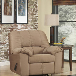 """Ashley - Dominator Rocker Recliner in Mocha Fabric - With rich earth-toned upholstery and a plush comfort you can really sink into, the """"Dominator-Mocha"""" upholstery collection features thick padded arms and a beautifully detailed stitched bustle back design that makes this collection the perfect fit for any living area. Contemporary Plush Recliner; Infinite Reclining Positions; Lever Recliner; Plush Upholstered Arms; Mocha Fabric Upholstery; Bustle Back Cushions; CA117 Fire Retardant Foam; Durable Frame Construction; Metal drop-in unitized seat box for strength and durability; Corners are Glued, Blocked and Stapled; Upholstery pre-approved for wearability and durability against AHFA Standards; Cushion core constructed of low melt fiber wrapped over high quality foam; 100% Polyester; Spot clean with water based cleaner; Overall Dimension?: 42""""W x 39""""D x 40""""H;"""