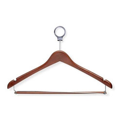 24-Pack Cherry Hotel Hangers- Locking Bar - Honey-Can-Do HNG-01736 24-Pack Wood Suit Hotel Hanger, Cherry Finish. Beautiful, wooden clothes hanger has a contemporary design perfect for keeping shirts, dresses, and pants wrinkle-free. Hotel style circular bar hook stays put when installed on any standard closet bar. These hangers also work great on rolling garment racks, keeping hangers and clothes from falling off the rack during transport. When needed, hangers easily detach from the circular hook. Pant bar opens at one end to make hanging pants and skirts a breeze, then locks in place. Shoulder notches keep garments with spaghetti straps hanging securely. A gorgeous upgrade for any closet space.