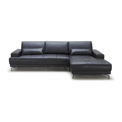 Zuri Furniture - Black Rocco Sectional Sofa - Right Chaise - Rocco's modern look is complemented by it's functional components including movable headrests.