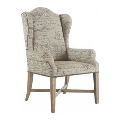 "Horchow - Two Braxton Amchairs - This wingback armchair can be used as a host/hostess chair or as an accent chair. Covered in French-script polyester fabric with antiqued-parchment-finished hardwood legs. Sold in pairs; each, 29.75""W x 28.75""D x 45""T. Imported. Boxed weight, appr..."