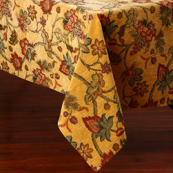 None - Floral Design 50x90-inch Italian Heavy Weight Tablecloth - Reminisce about summer picnics at your grandmother's house and make traditions of your own with this pretty floral tablecloth. It will work well on a patio table or in your kitchen,and it is made of elegant Italian fabric,which offers ambiance.