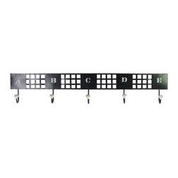 Metal Wall Hanger w/ 5 Lettered Hooks - Large - Black - *Metal Wall Hanger with 5 Lettered Hooks LG Black