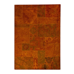 """MAT Vintage Sarangi Orange Rug - 5'2""""x7'6"""" - The rugs in this collection are all inspired by urban lanandscapes, making way for a statement where texture, shape, and line are the form. The rug's texture and the marriage of colors speak to the contemporary room. """"It is the art piece on the floor.  Because of the artistic quality ofThe rugs they are easily used in modern as well as traditional interiors. Pile Height:0.  Inches"""
