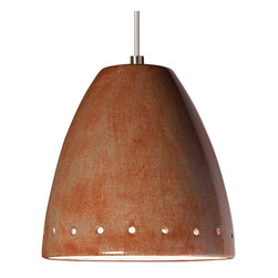 A19 Lighting - Realm Modern Down Lighting Mini Pendant Spice Earth Tones - Realm'S Smooth Surface Set Off By A Line Of Perforations Around The Rim Is Coupled With A Unique Glossy Glaze Finish. Great Alone Or Grouped, The Opaque Ceramic Shade Blocks Glare While Providing Generous Energy Efficient Down-Lighting.Height:6