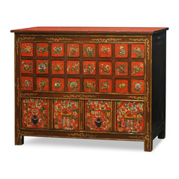 "China Furniture and Arts - Hand Painted Tibetan Chest of Drawers - Combining functionality with traditional Tibetan design, this chest  features 24 drawers and two large interior compartment at the bottom. The entire cabinet is hand painted with expressive attention to detail. The vibrant colors reflect the culture of the Tibetan people who are passionate with life. Each drawer interior measures 4""W x 12.25""D x 4""H and each lower interior compartment has dimensions of 25""W x 12""D x 14""H. The cabinet is constructed entirely of Elmwood and comes fully assembled. It is a one-of-a-kind item and will last for generations to admire."