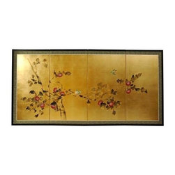 Oriental Unlimted - Gold Leaf Cherry Blossom Wall Art Silk Screen - Screens may vary slightly in color. Evoke images of the Orient with this soft and beautiful, handpainted gold leaf rendition of cherry blossoms. Hand painted gold leaf silk screen. Song dynasty (10th century China) brush art style. Crafted from silk covered paper, glued over four side-by-side lacquered wood frames. Matted with a fine Chinese silk brocade border. Comes with lacquered Brass geometric hangers for easy mounting. Can be displayed as a privacy screen, partly folded to stand upright on a table or floor. Note that no 2 renderings are exactly the same. Subtle, beautiful hand painted wall art for a fraction of the cost of a comparable print. 36 in. L x 0.625 in. W x 18 in. H