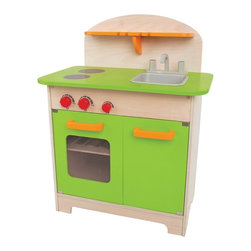 "Hape - Gourmet Kitchen, Green - An all-in-one kitchen inspires mini chefs to cook everywhere and everything. Realistic kitchen set; Made of Baltic birch plywood. Oven door has see-through panel; graphics represent stove top; Hutch has slots to hang utensils or store small items; Knobs ""click"" when turned ""on"" or ""off."" Plastic tub is sink; Magnetic close on doors."