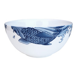 Ink Dish - Irezumi 10-inch Serving Bowl by Paul Timman - Blue and white china patterns are classic, but this modern take on the style makes for a refreshing update. The fish becomes the focal point, making for a more minimalist style that sets this piece apart.