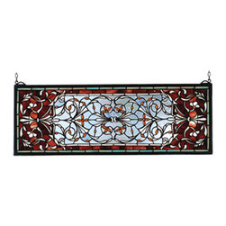 """Meyda Tiffany - 28""""W X 10""""H Versaille Transom Stained Glass Window - A Pomegranate Red border is centered over a Frosty Blue field with flowers and flourishes of Wispy White and Amber jewels. This Meyda Tiffany classic transom window is created of 512 hand cut pieces of stained art glass. The solid frame is made of the same brass as the hanging bracket and chains that are included with this window."""