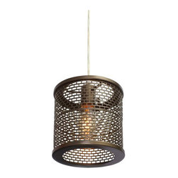 Varaluz - Lit Mesh Test Mini Pendant - Lit Mesh Test Mini Pendant is made from hand-forged recycled steel mesh and is available in a new bronze finish. One 100-watt, 120 volt A19 medium base incandescent bulb is required, but not included. Dimensions: 7.25W x 9H.