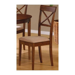 Coaster - Mix and Match Cross Back Dining Chair - Set o - Set of 2. Contemporary style. High back with open X-crossing pattern. Sleek square tapered legs. Deep mocha microfiber padded seat upholstery. Made from wood veneers and solids. Warm medium walnut finish. 22 in. W x 18 in. D x 39 in. H. WarrantyThis lovely dining side chair will be a great addition to your casual contemporary dining ensemble. Upholstery adds to the comfort and durability of this chair.