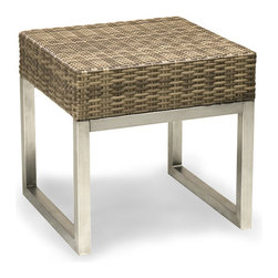 Thos. Baker - Palms Wicker Side Table - The palms collection  features rich, coffee-colored Viro all-weather wicker woven over rust-resistant aluminum frames set on 304-grade stainless legs. Plush cushion sets are covered in Sunbrella outdoor performance fabrics made-to-order in your choice of solids or textures or premium woven and striped patterns.Signature or premium cushion sales are final and ship in 2-3 weeks.