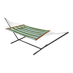 Smart Solar Santorini Premium Reversible Double Hammock in Green Stripe and Soli - I think this stationary hammock is perfect for summertime use. The fabric is quilted, weather-resistant and reversible from stripes to solid.