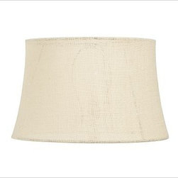 "Burlap Tapered Drum Lamp Shade, Large, Bleached - The rustic texture of burlap pairs beautifully with a mix of colors and materials, and adds a natural, textural warmth to any room. Small: 11.5"" diameter at top, 13.5"" diameter at bottom, 8.5"" high Medium: 12.5"" diameter at top, 15"" diameter at bottom, 9.5"" high Large: 14"" diameter at top, 17"" diameter at bottom, 10.5"" high X-Large: 15.5"" diameter at top, 19.5"" diameter at bottom, 12.5"" high XX-Large: 18.5"" diameter at top, 23"" diameter at bottom, 15.5"" high"