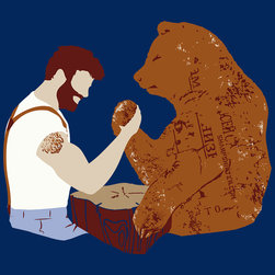 "Sharp Shirter - Arm Wrestling Print - It's only natural that man and bear arm wrestle. Printed on 18"" x 24"" cover stock paper. Rolled for shipment."