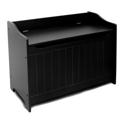 Catskill Craftsmen - Flip Top Storage Chest Bench w Black Finish & - Assembly tool included. Made of MDF lacquered wood. Constructed with warp-resistant materials. Wainscoted front. Finger slot under lid. Child safety hinge. Overall: 14 in. L x 32.75 in. W x 24 in. H (41 lbs.). Interior: 11 in. L x 31.5 in. W x 17 in. H