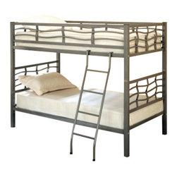 Coaster - Twin/Twin Bunk Bed (Metal) By Coaster - Turn one sleeping area into two with the Coaster Metal Twin over Twin Bunk Bed in Dark Silver. The Wave Bunk Bed's sleek contemporary style and dark silver finish work together to enrich the atmosphere in your young ones' bedroom. A good sturdy metal frame makes this bed durable and safe. If your kids get tired of the heights, the bunks can be separated into two twin beds. The Metal Twin over Twin Bunk Bed is a versatile addition to any guest room or children's bedroom. Features: Twin over Twin size Metal construction Dark silver finish Bunks can be separated to form two twin beds Perfect for boys With Built-In Ladder Some assembly required.