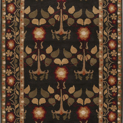 "Surya - Surya Bungalow BNG-5019, Black, 3'3""x5'3"" Rug - The masterfully designed Bungalo rug collection takes its cue from the iconic Arts and Crafts textile designs of William Morris. Hand tufted from 100% New Zealand wool, each member of this beautiful collection exhibits fine craftsmanship. The rich colors and flat lines of these elegant area rugs keep with the inspired theme. Bring a warm presence and artful touch into your transitional space with a Surya Bungalo area rug."
