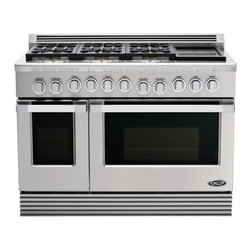 """DCS - RGU-486GD-N 48"""" Freestanding Gas Range  6 Burners  5.3 cu. ft. Primary Oven  2.4 - DCS brings world class cooking into your kitchen with this distinctive line of high performance ranges This restaurant quality range is equipped with standard features that meet the demanding expectations of the finest chefs The DCS RGU486GDN Range f..."""