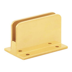 Renovators Supply - Bar Brackets Solid Brass Glass Railing Clip Holds 1/4'' glass - Glass Railing Clip. Brass handrail glass clips are used to create booth dividers and guard rails. Note: When using tempered glass, holes should be drilled prior to tempering. Holds glass that is 1/4 in. thick. The base of this glass clip is flat.