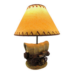 Zeckos - Covered Wagon Table Lamp with Shade - Inspired by a time when the West was wild, this covered wagon table lamp adds a unique accent to your Western themed decor. Made of cold cast resin, it measures 17 inches tall with an approximately 6 inch by 7 inch base. The coordinating shade is 13 inches in diameter and is textured to look as though it were made from an animal's hide with a suede whip stitch accent around the top and bottom. The lamp uses a 60 watt (max) type A bulb (not included), and has a black 6 foot long power cord.
