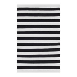 Fab Habitat - Nantucket Black & Bright White (5' x 8') - This stylishly simple rug features an alternating series of solid stripes for a classic coastal aesthetic. Whether you live in a cottage in Kansas or a house in the Hamptons, you can feel like it's Summer along the water … all year-round.