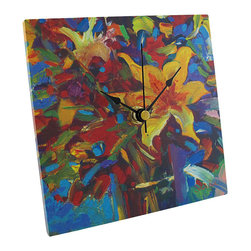 n/a - `Celebrate` Square Tabletop or Wall Clock 6 In. - This colorful clock is a wonderful addition to your home or office. It measures 6 inches tall, 6 inches wide, and 3/8 of an inch thick. The clock features a quartz movement and runs on 1 AA battery (not included). Display this piece on your desk, shelf, or table, or hang it on the wall. This piece is a great gift for a friend.