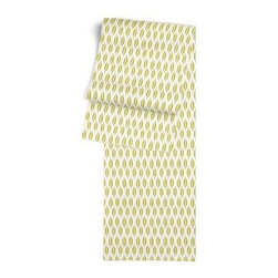 Green & Gray Ikat Dot Custom Table Runner - Get ready to dine in style with your new Simple Table Runner. With clean rolled edges and hundreds of fabrics to choose from, it's the perfect centerpiece to the well set table. We love it in this ikat dot in lime green and gray on the softest white cotton sateen. As cute as it is contemporary.