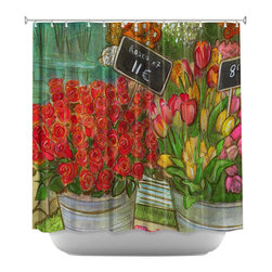 DiaNoche Designs - Shower Curtain Artistic - The Paris Flower Shop - DiaNoche Designs works with artists from around the world to bring unique, artistic products to decorate all aspects of your home.  Our designer Shower Curtains will be the talk of every guest to visit your bathroom!  Our Shower Curtains have Sewn reinforced holes for curtain rings, Shower Curtain Rings Not Included.  Dye Sublimation printing adheres the ink to the material for long life and durability. Machine Wash upon arrival for maximum softness on cold and dry low.  Printed in USA.