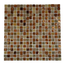 """Metallic Etched Pharaoh's Gold Blend Marble & Glass Tiles - sample- METALLIC ETCHED PHARAOH'S GOLD BLEND 1/4 SHEET GLASS TILES SAMPLE You are purchasing a 1/4 sheet sample measuring approximately 6"""" x 6"""". Samples are intended for color comparison purposes, not installation purposes. -Glass Tiles -"""