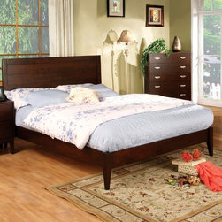 "Hokku Designs - Berkley Queen Platform Bed - Everything a bedroom should be: elegantly detailed and totally tranquil. The beautiful bedroom furniture set is crafted with sturdy solid woods and strength enhancing veneers, exquisitely styled with a rubbed brown cherry finish and accented with design details like brushed nickel hardware, framed panels, shaped molding and tapered feet. Features: -Berkley collection. -Brown cherry finish. -Materials: Solid wood, veneer and brushed nickel hardware pull. -Panel headboard and low profile footboard bed. -Comes with mortise and tenon joinery. -Queen bed dimensions: 47.25""H x 62.5"" W x 86.5"" D."