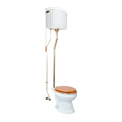 Renovators Supply - Toilets White Corner High Tank Elong. Toilet L-pipe - Corner High Tank Toilets L-pipe : Our stylish corner high tank elongated toilet will lend your lavatory the charm & ambiance of the Victorian age. We've updated the materials and components with 21st century technology. All tanks are a water-saving 1.6 gallons per flush. Ready to install with all mounting parts, includes ceramic tank, supply line, angle stop, mounting hardware and grade A vitreous elongated bowl. Toilet seat not included. Adjustable overall height 74 in. to 78 in. & adjustable rough-in 12 to 15 in.