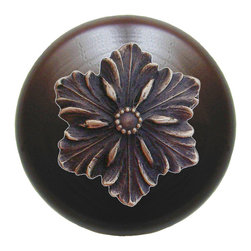 "Notting Hill - Notting Hill Opulent Flower/Dark Walnut Wood Knob - Antique Solid Bronze - Notting Hill Decorative Hardware creates distinctive, high-end decorative cabinet hardware. Our cabinet knobs and handles are hand-cast of solid fine pewter and bronze with a variety of finishes. Notting Hill's decorative kitchen hardware features classic designs with exceptional detail and craftsmanship. Our collections offer decorative knobs, pulls, bin pulls, hinge plates, cabinet backplates, and appliance pulls. Dimensions: 1-1/2"" diameter"