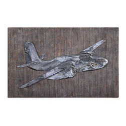 Pride of the Air Metal Wall Art - Plane Has Been Embossed In Steel, Finished With A Light Brown Wash, And Then Applied To Reclaimed Wood That Has A Gray, Brown And Black Finish.