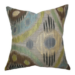 The Pillow Collection - Jakayla Geometric Pillow Blue Green - Bring an artistic twist to your home with this eccentric-looking throw pillow. This indoor pillow features a unique geometric pattern in shades of blue, gray, brown, yellow and green. For a fresh decor style, play up solids and printed pillows with this accent piece. Proudly made in the USA and constructed using durable materials.