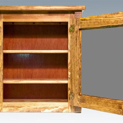 Montana Woodworks - Medicine Cabinet in Stained and Lacquered Fin - Handcrafted. Trim pieces are sawn square. Heirloom quality. Durable build and fit. Edge glued panels. Adjustable shelf and mirror. Made from solid grown wood and timbers. Made in USA. No assembly required. 24 in. W x 8 in. D x 26 in. H (25 lbs.). Warranty. Use and Care InstructionsMontana woodworks, the largest manufacturer comes the all new homestead collection line of furniture products. This unique medicine cabinet gives just the right finishing flair to your rustic lifestyle. Each piece signed by the artisan who makes It.