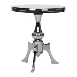 Safavieh - Vega Accent Table - The Vega Accent Table is the contemporary cousin of the traditional classic three-legged pedestal table. Crafted with chromium plating and iron with a silver and black finish it brings haute interiors up to speed, but not without a generous nod to the first manifestation of its fashionable form.